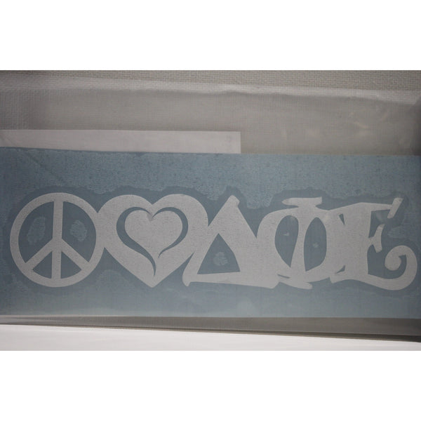 Delta Phi Epsilon Peace Love Decal