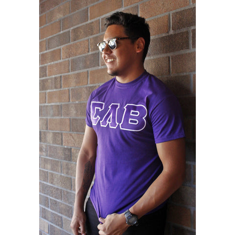 Sigma Lambda Beta Satin-Stitch Greek Letter Tee