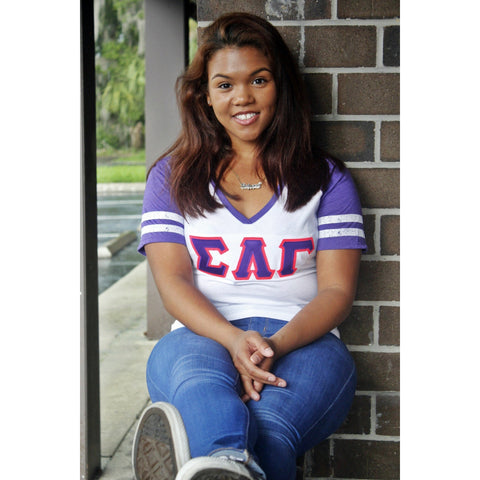 Sigma Lambda Gamma Purple and White vneck