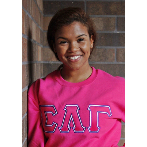 Sigma Lambda Gamma Greek Pink Satin Stitch Crewneck