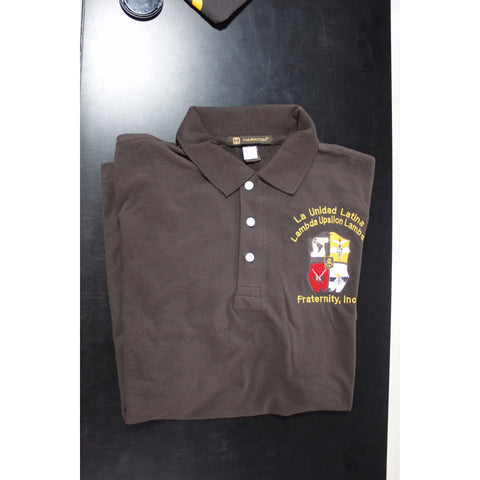 Lambda Upsilon Lambda Brown Knit Polo