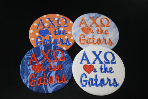 "Alpha Chi Omega ""Hearts the ___"" Game Day Button"