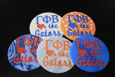 "Gamma Phi Beta ""Hearts the ___"" Game Day Button"