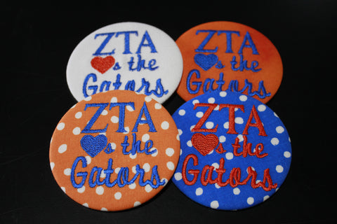 "Zeta Tau Alpha ""Hearts the ___"" Game Day Button"