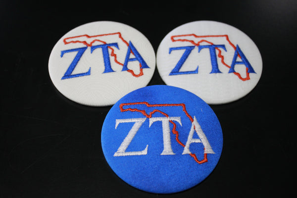 Zeta Tau Alpha Florida Outline Game Day Embroidered Button