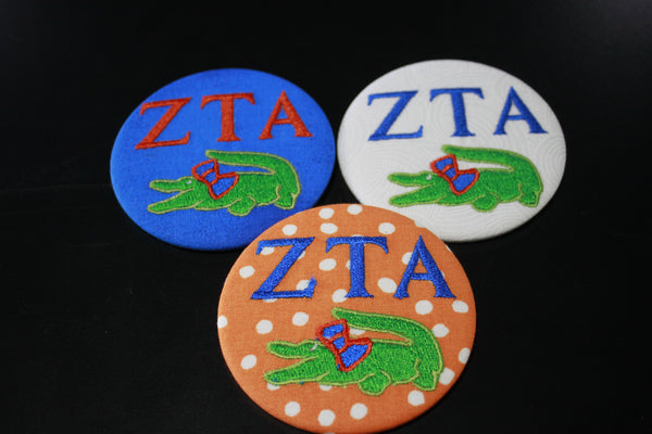 Zeta Tau Alpha Gator Game Day Embroidered Button