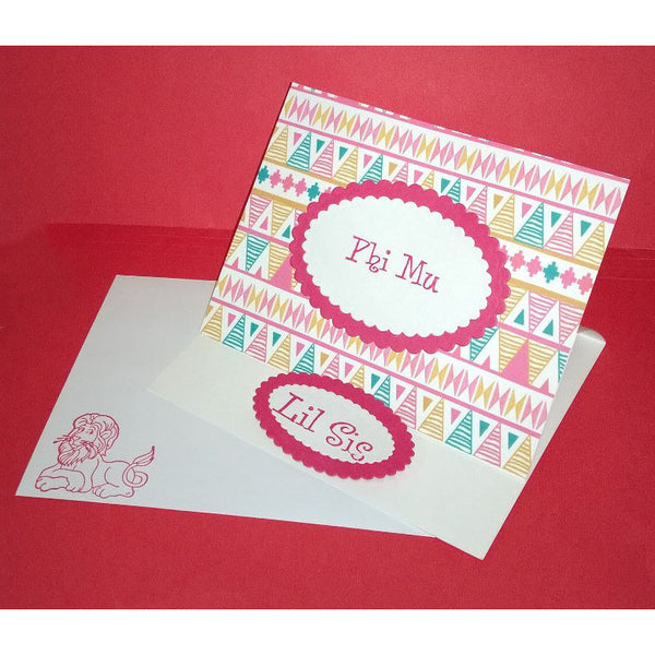 Phi Mu Tribal Print Cards