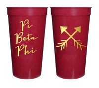 Pi Beta Phi Sorority Stadium Cup with Gold Foil Print