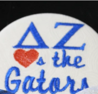 "Delta Zeta ""Hearts the ___"" Game Day Embroidered Button"