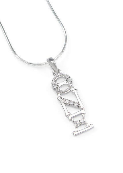 Theta Nu Xi Sterling Silver Lavaliere with Crystals