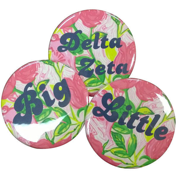 Delta Zeta Lilly Printed Button