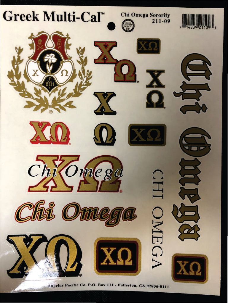 Chi Omega Discontinued Decal Page