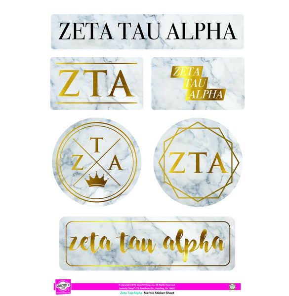 Zeta Tau Alpha Marble Sticker Sheet