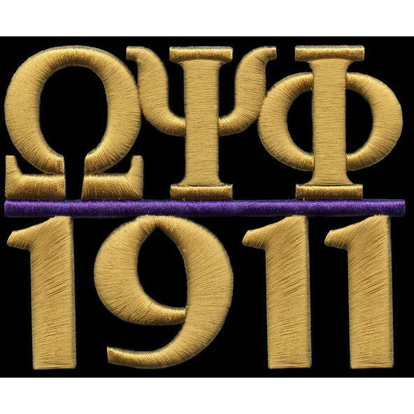 Omega Psi Phi Chapter Style Embroidery Patch Gold