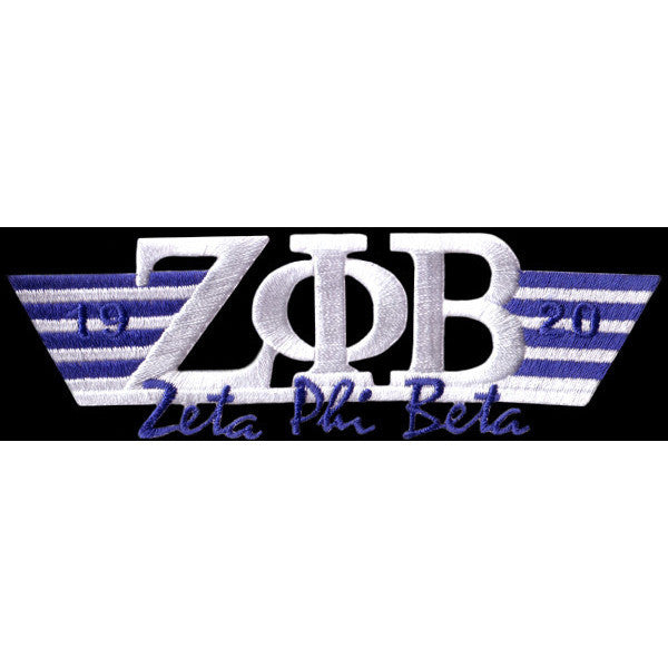 Zeta Phi Beta Wing Style Embroidery White Patch
