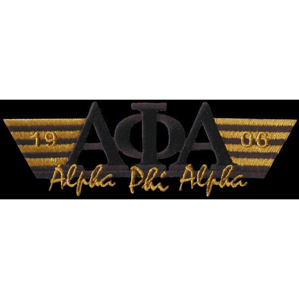 Alpha Phi Alpha Wing Style Embroidery Patch Black