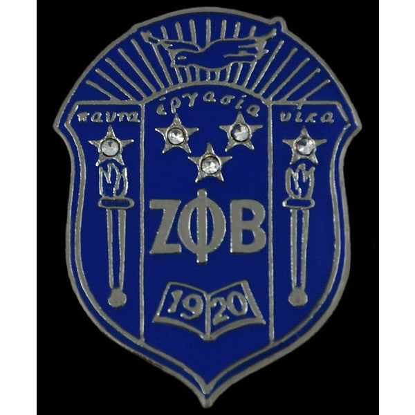 Zeta Phi Beta Crystal Shield Pin