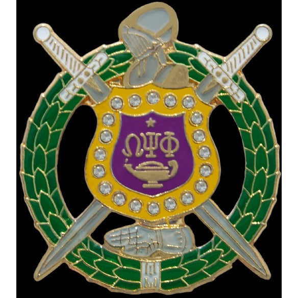 Omega Psi Phi Crystal Shield Pin