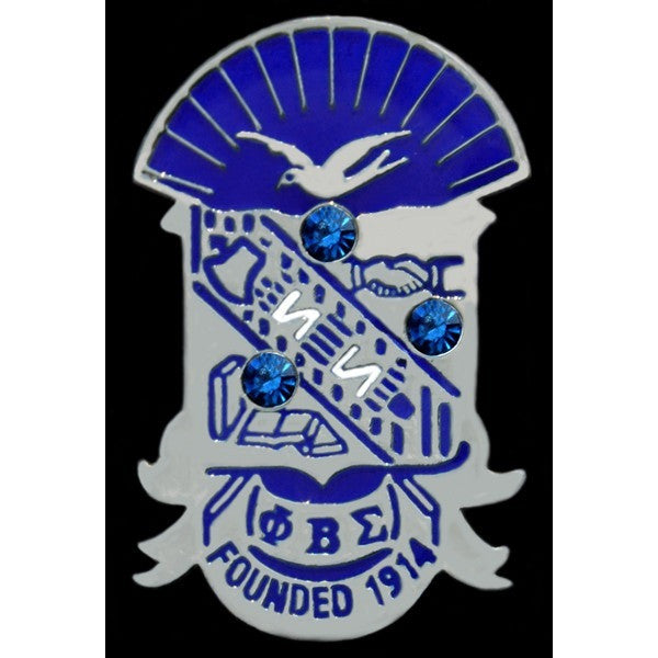 Phi Beta Sigma Crystal Shield Pin