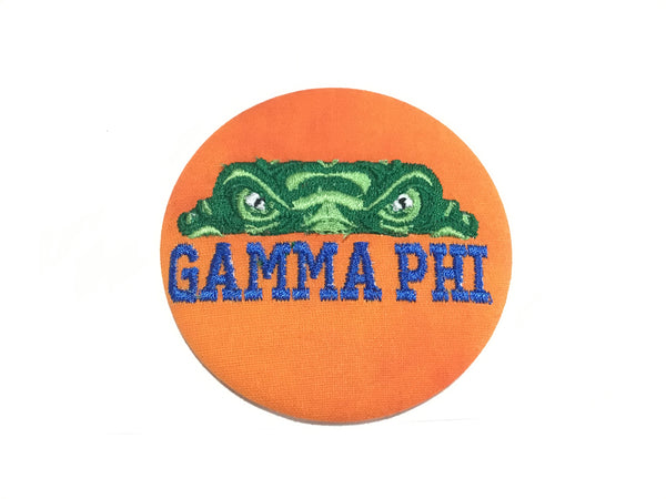 Gamma Phi Beta Gator Eyes Embroidered Button