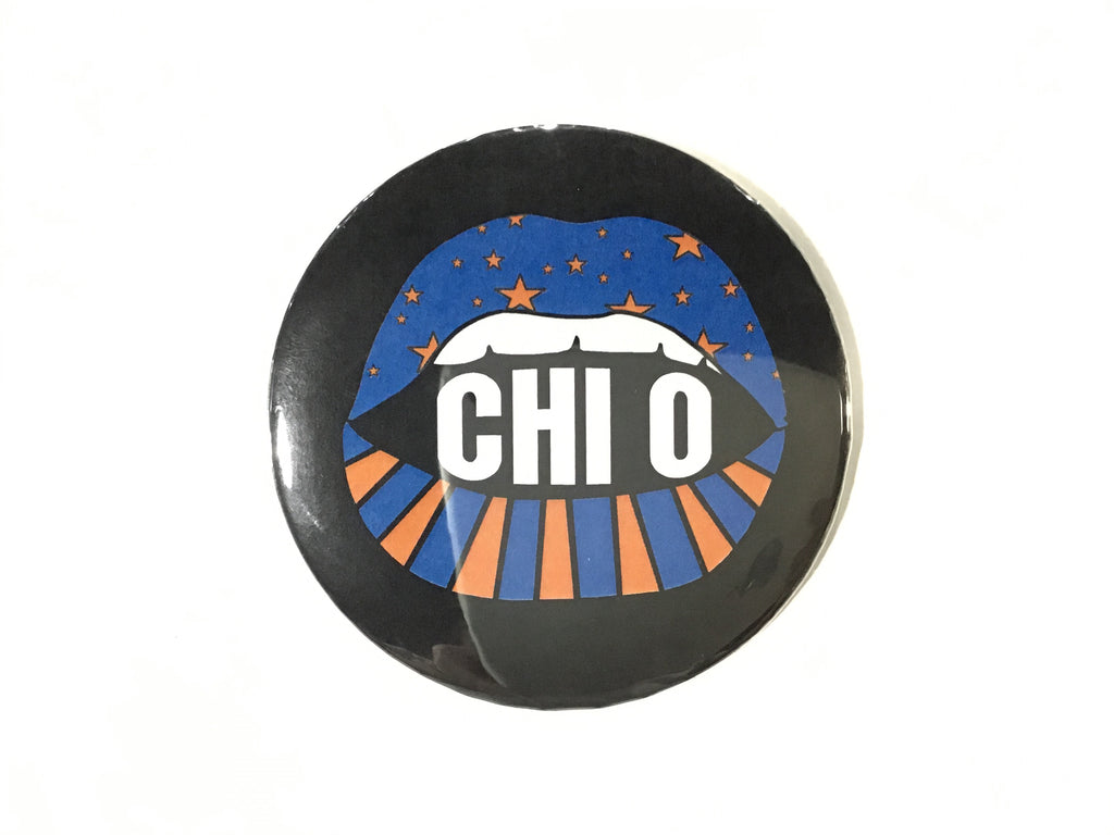 Chi Omega Lip Printed Button