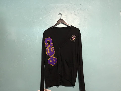 Omega Psi Phi Black Thin Cardigan