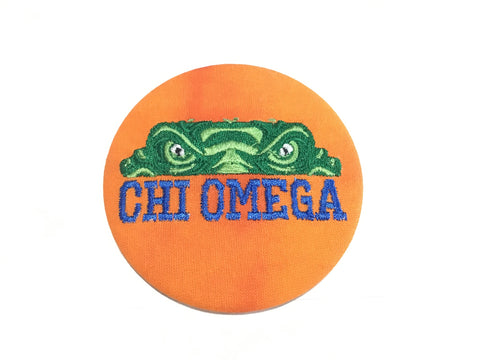 Chi Omega Gator Eyes Embroidery Button
