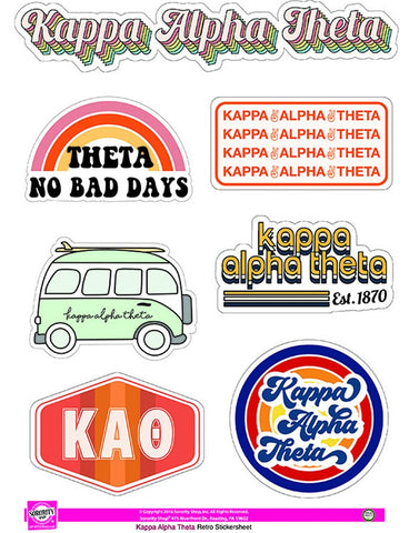 Kappa Alpha Theta Retro Sticker Set