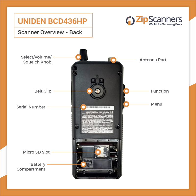 BCD436HP Police Scanner Uniden Digital Handheld Scanner BACK