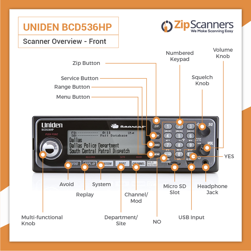 BCD536HP Police Scanner Uniden Digital BaseMobile Scanner FRONT