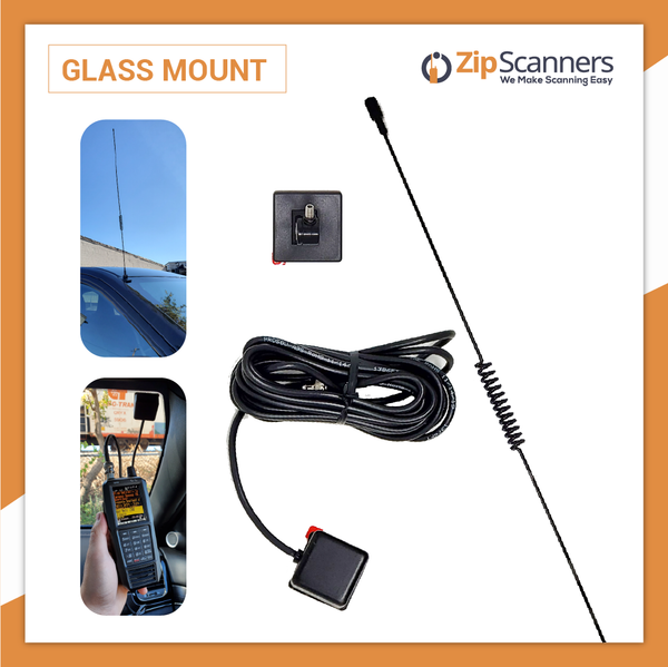Glass Mount Police Scanner Antenna Vehicle Wide Band Zip Scanners