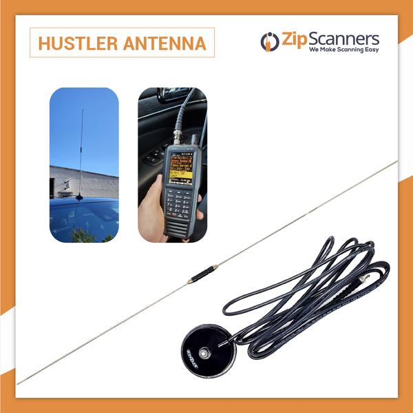 Hustler Vehicle Magnet Mount Antenna for Police Scanners Zip Scanners