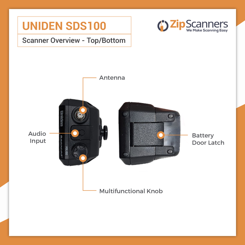 SDS100 Police Scanner | Uniden Digital Handheld Scanner Top and Bottom