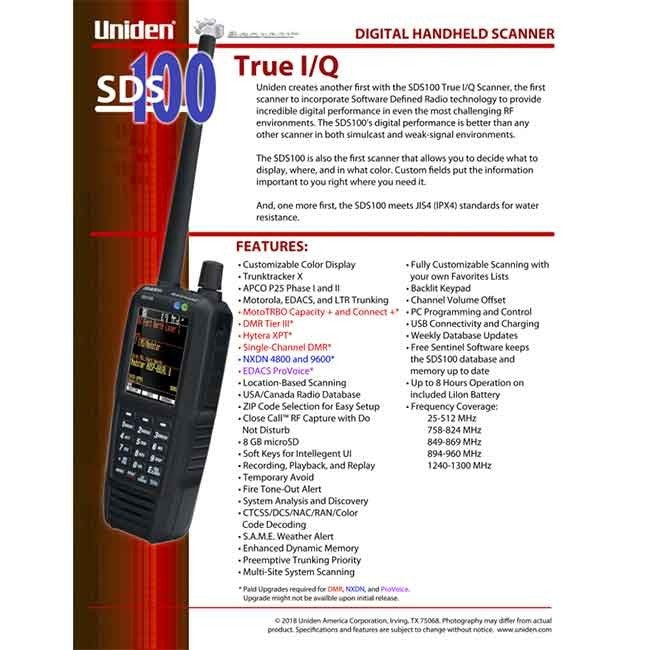 SDS100 Police Scanner Uniden Digital Handheld Scanner one pager