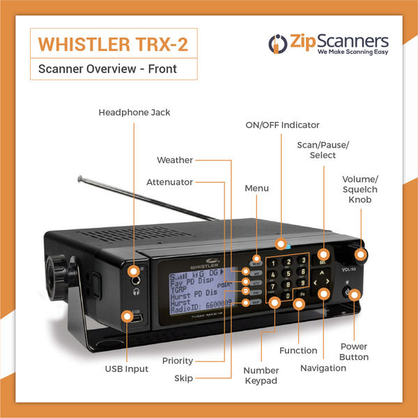 TRX-2 Police Scanner | Whistler Digital Base/Mobile Scanner Zip Scanners