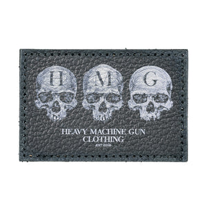 This is the HMG Leather Patch from the UK Veteran owned apparel company HMG Clothing.