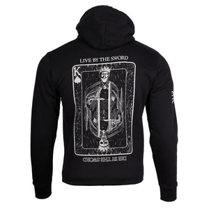 This is the back of the Live by the Sword Hoody from the UK Veteran owned apparel company HMG Clothing.