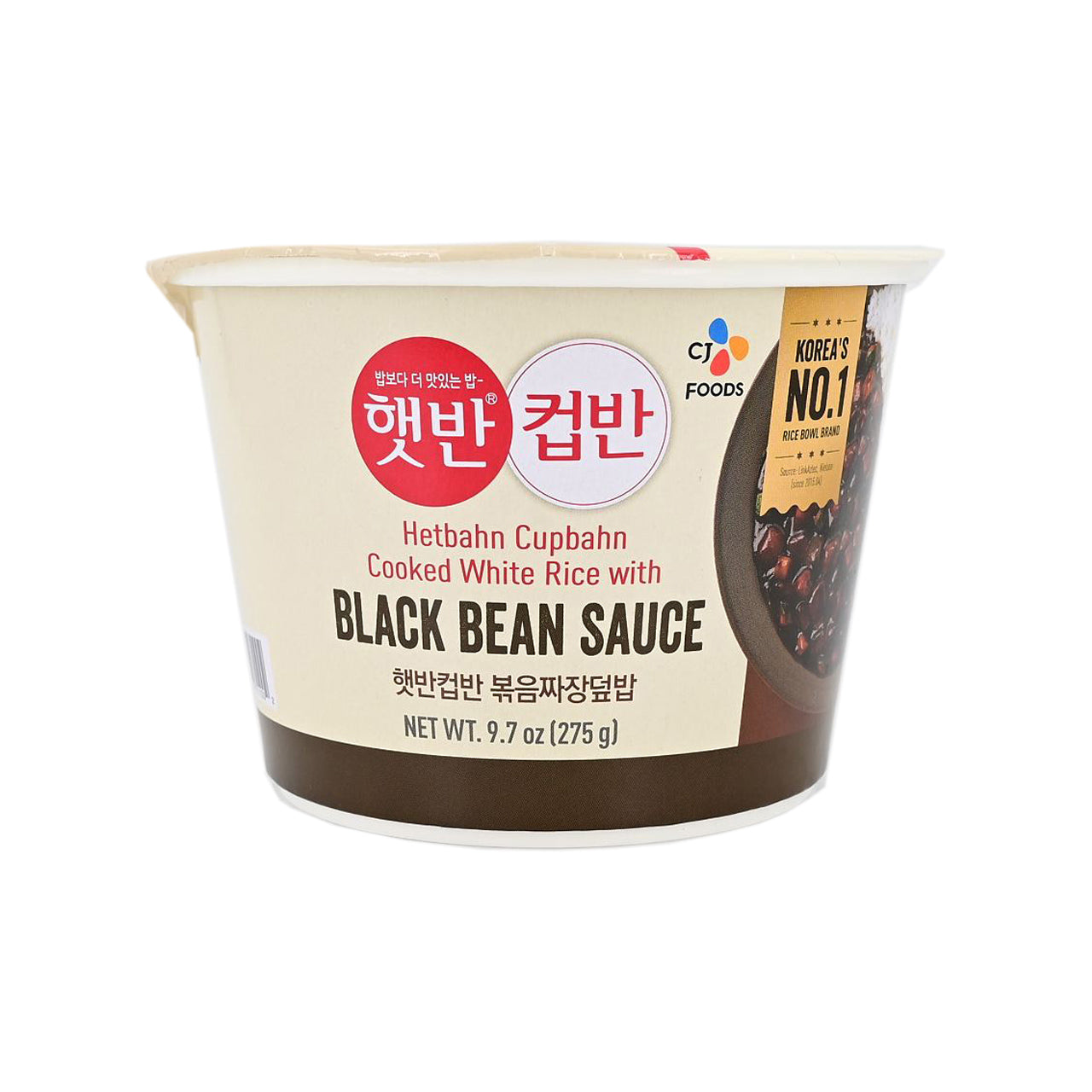 CJ 컵반 볶음짜장덮밥 (Cupbahn Cooked White Rice with Black Bean Sauce) 275g