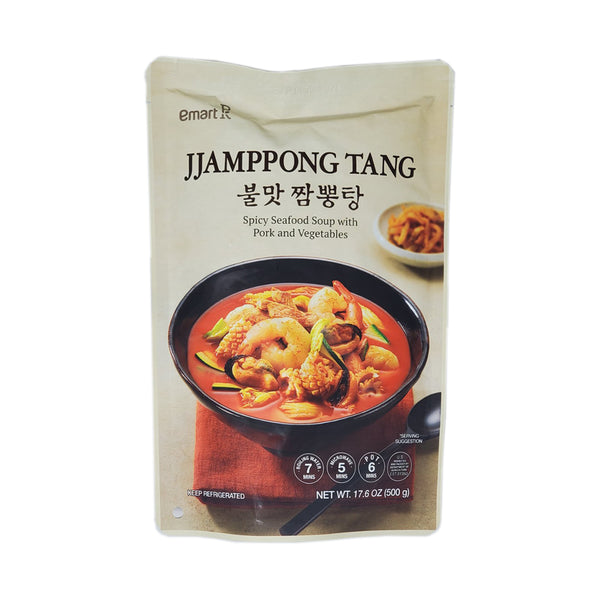 Emart 불맛 짬뽕탕 (Spicy Seafood Soup w Pork & Vegetables) 500g