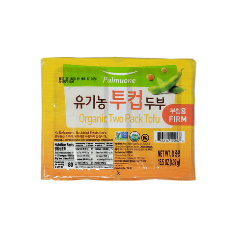 [Weekly Sale] 풀무원 유기농 투컵 두부 부침용 (Pulmuone Organic Two Pack Tofu Firm) 439g