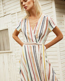 Designers Society Striped Wrap Dress
