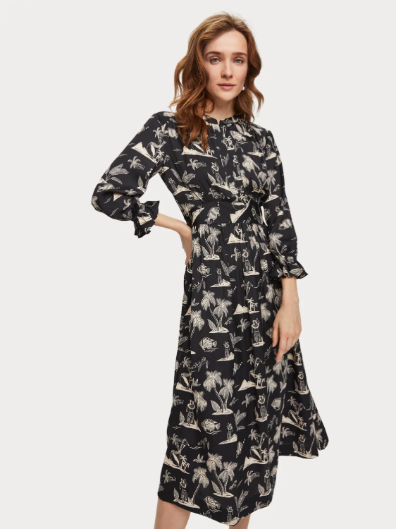 Scotch & Soda Desert Island Print Midi Dress