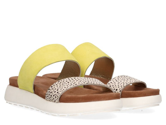 Maruti Suede & Leather Slides - Lemon