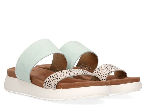 Maruti Suede & Leather Slides - Mint