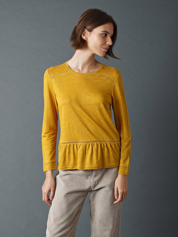 Indi & Cold Mustard Tee with Peplum