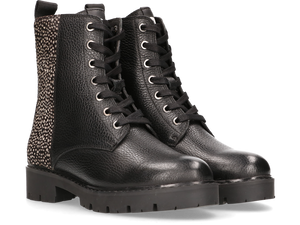 Maruti Gabri Leather/Hairon Boots - Black