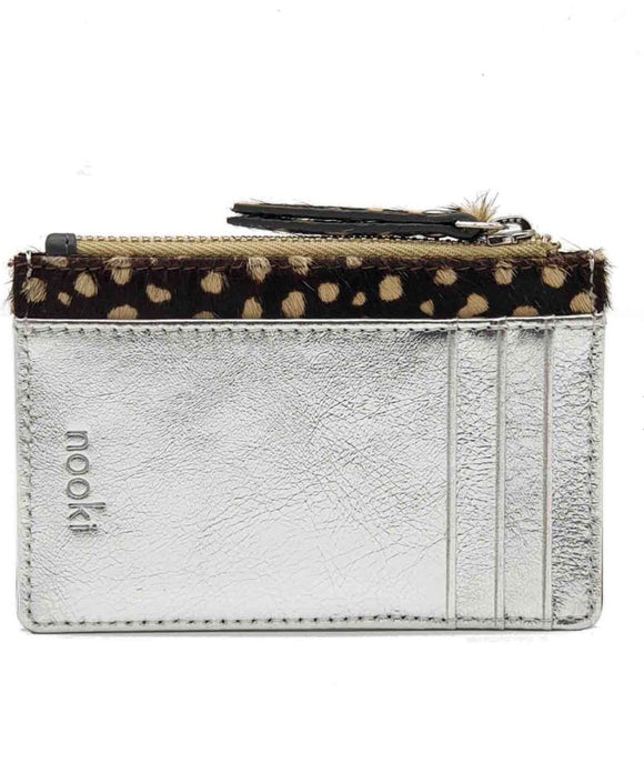 Nooki Petra Cardholder - Silver/Grey Leather