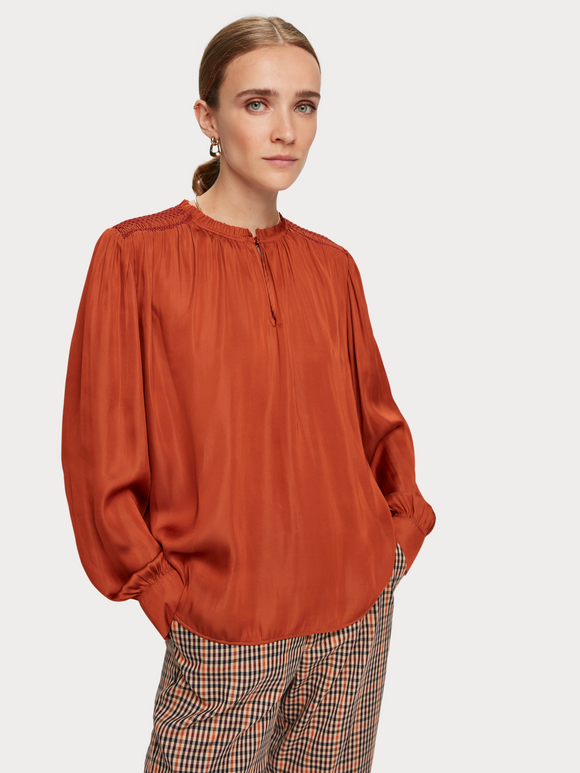 Scotch & Soda Top with Smocking Details & Ruffle - Copper