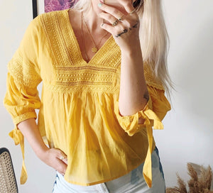 Designers Society Lace & Puffed Sleeve Blouse - Yellow