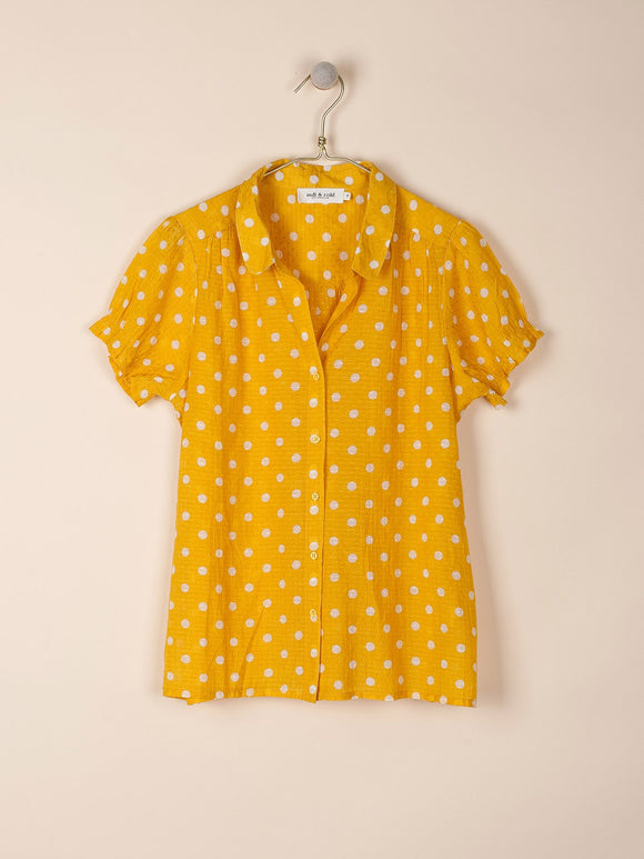 Indi & Cold Short Sleeved Polka Dot Shirt